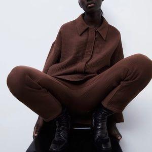 Zara textured brown pants